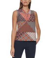 tommy hilfiger patchwork-print knot-neck top