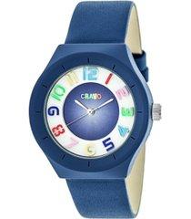 crayo unisex atomic blue genuine leather strap watch 36mm