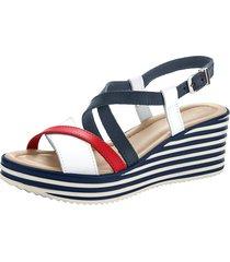sandaletter klingel marinblå::vit::röd