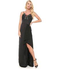 vestido lança perfume longo pedraria preto