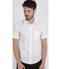 camisa masculina comfort com bolso manga curta branca