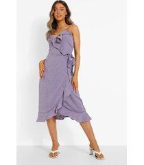 midi wikkel jurk met ruches en stippen, lilac