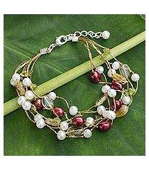 cultured pearl and citrine beaded bracelet, 'spring awakening' (thailand)