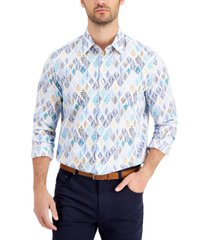 tasso elba men's dosso leaf printed cotton shirt, created for macy's