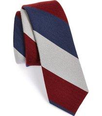 men's the tie bar wool & silk stripe tie, size regular - blue (online only)