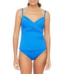 women's la blanca island goddess underwire tankini top, size 10 - blue
