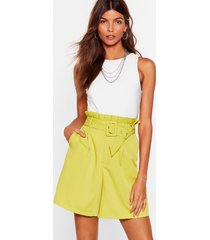 womens never follow suit longline belted shorts - chartreuse