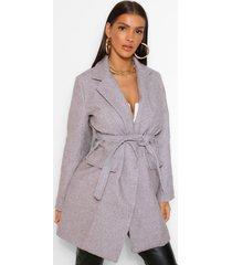 belted pocket detail wool look coat, grey