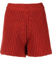 alanui high-waisted chunky-knit shorts - red