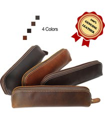 100% good quality genuine vintage leather pens case pencils holder pouch