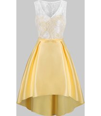 lace insert belted high low party dress