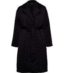 uma quilted coat doorgestikte jas zwart gina tricot