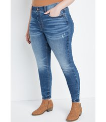 maurices plus size jeans womens jeans cool comfort pull on super high rise jegging blue denim