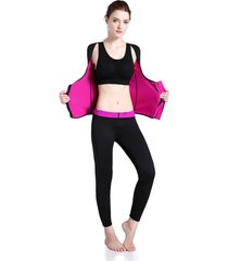 las mujeres camiseta body shaper adelgaza la cintura de manga larga y cremallera chalecos fitness-rosa roja