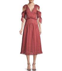 karina ruffled cold-shoulder cotton a-line dress