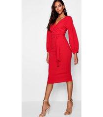 tall wikkel midi bodycon jurk met open schouders, rood