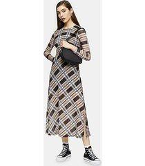 blue and stone check mesh midi dress - multi
