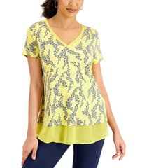 jm collection printed sheer-hem top, created for macy's