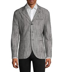 john varvatos men's easy-fit wool-blend blazer jacket - black white - size 50 (40)