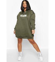 plus oversized 'icon' sweatshirt jurk met capuchon, kaki