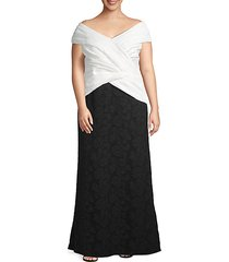 plus off-the-shoulder colorblock crepe evening gown