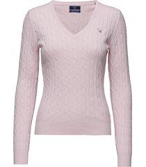 stretch cotton cable v-neck gebreide trui roze gant