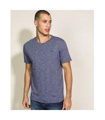 camiseta masculina básica com bordado manga curta gola careca azul