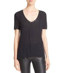 women's zadig & voltaire 'tino' foil accent tee, size x-small - black