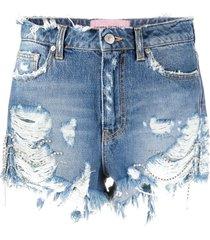 chiara ferragni destroyed denim shorts - blue