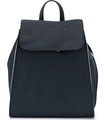 agnès b. logo embroidered backpack - blue