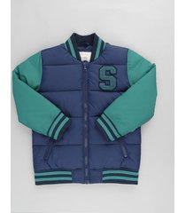 jaqueta infantil bomber em moletom azul marinho
