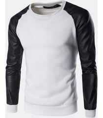 felpa da uomo a maniche lunghe felpa fashion splicing color pu leather sleeve casual pullover