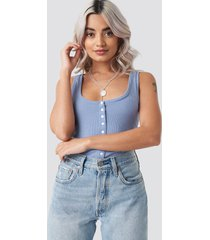 na-kd button ribbed tank top - blue