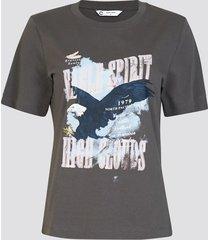t-shirt med print - mörkgrå