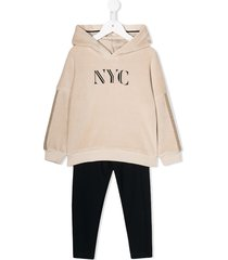 lapin house hooded two-piece tracksuit set - neutrals