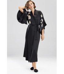 natori opulent embroidery robe, women's, black, size m natori