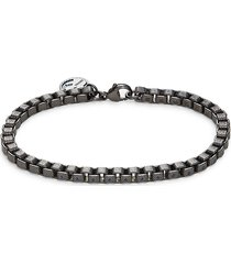 effy men's black rhodium-plated sterling silver venetian box chain bracelet