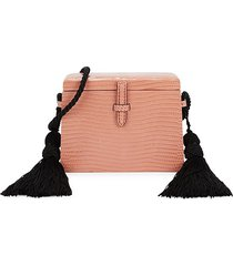 hunting season women's mini square trunk lizard leather crossbody bag - pastel pink