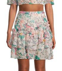 walter baker women's sara floral tiered mini skirt - havana - size 0