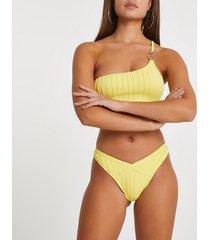 river island womens yellow ribbed high leg bikini bottoms