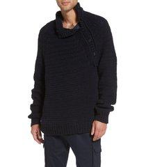 men's vince side button mock neck sweater