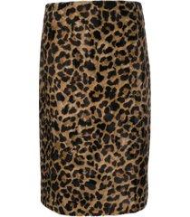 rokh faux fur skirt - brown