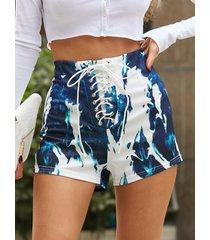 yoins shorts azules con diseño de teñido anudado y cordones