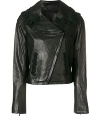 chanel pre-owned 2009 crochet trimmed leather jacket - black