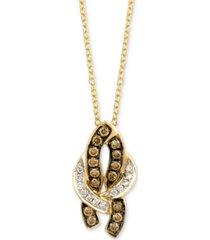 "le vian chocolatier diamond 18"" pendant necklace (1/5 ct. t.w.) in 14k gold"