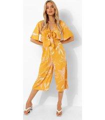 bloemen culotte jumpsuit met laag decolleté en geplooide taille, mustard