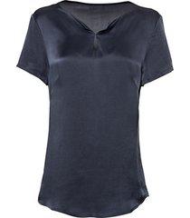 zijden t-shirt en druppelvormige opening, nachtblauw 34