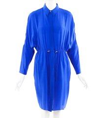 acne studios blue sheer silk drawstring shirt dress blue sz: s
