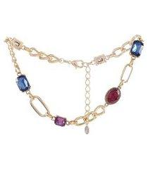 colar choker armazem rr bijoux corrente cristais coloridos dourado