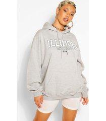 extreem oversized illinois hoodie met tekst, grijs gemêleerd